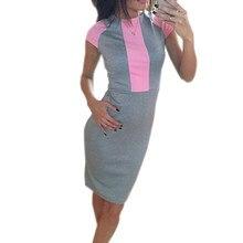 4db6919ac264e6 Sexy Zomerjurk Vrouwen Roze Grijs Kleurblok Nauwsluitende jurken 2018 Dames  Sexy Bandage Rits Terug Casual Jurk