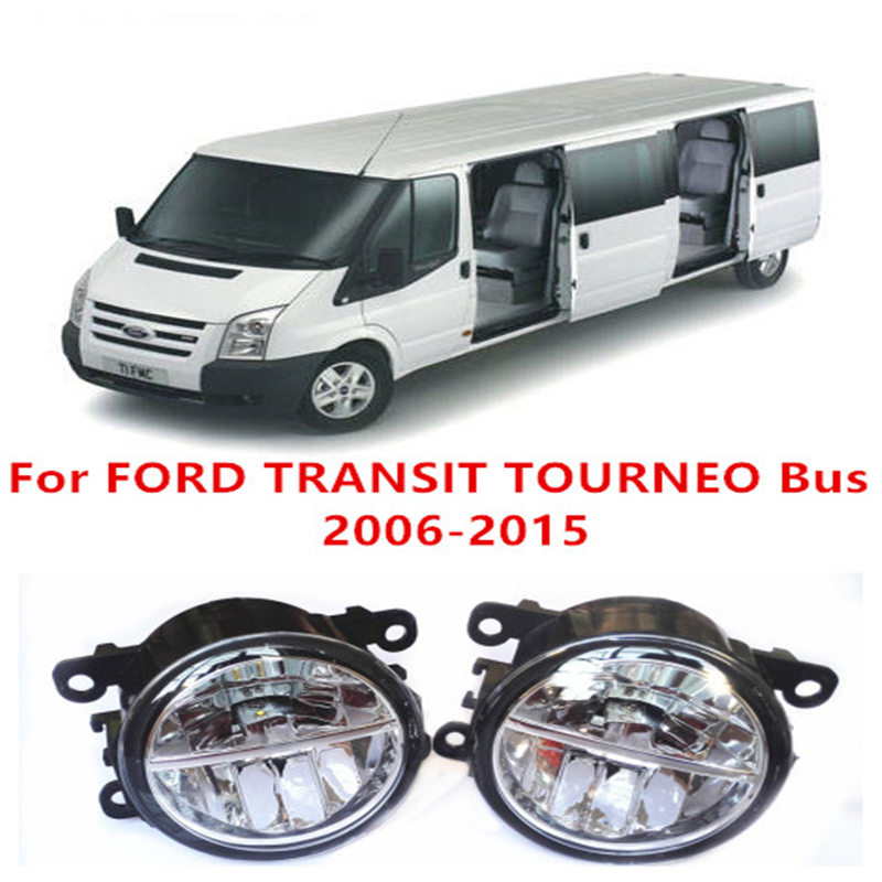 For FORD TRANSIT TOURNEO Bus 2006-2015  10W Fog Light LED DRL Daytime Running Lights Car Styling lamps car electric window toggle switch front for ford transit mk6 2000 2006