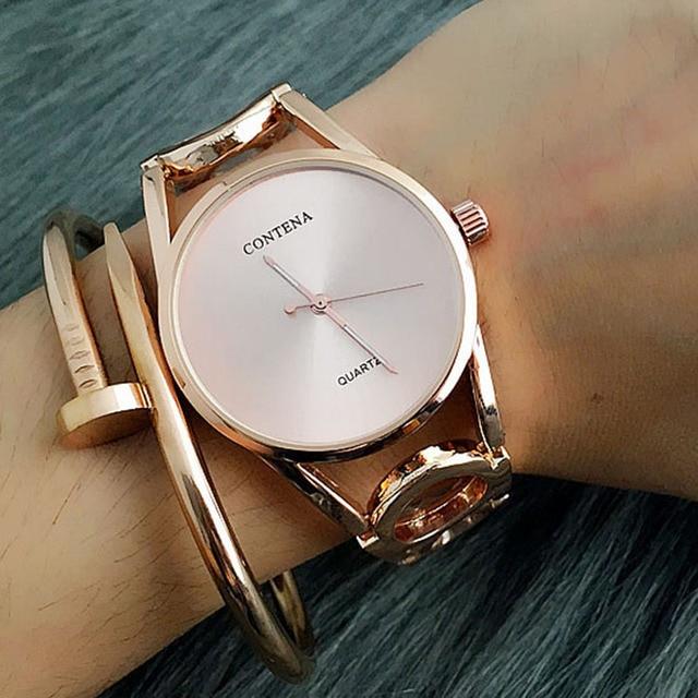 4634b99f265 Contena Frauen Uhr 2019 Neue Relogio Feminino Luxus Damen Einzigartige  Designer Volle Edelstahl Strass Armband Armbanduhr