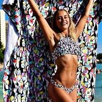 2017 New Sexy Low Waist Bikini Swimwear Two Sidded Swimwear Floral Painting Bikini Double Sides Wear