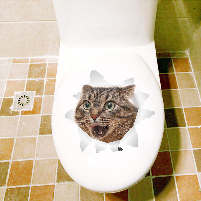 Cats Dog 3D Wall Sticker Bathroom Toilet Living Room Kitchen Decoration Animal Vinyl Art Sticker Poster 27