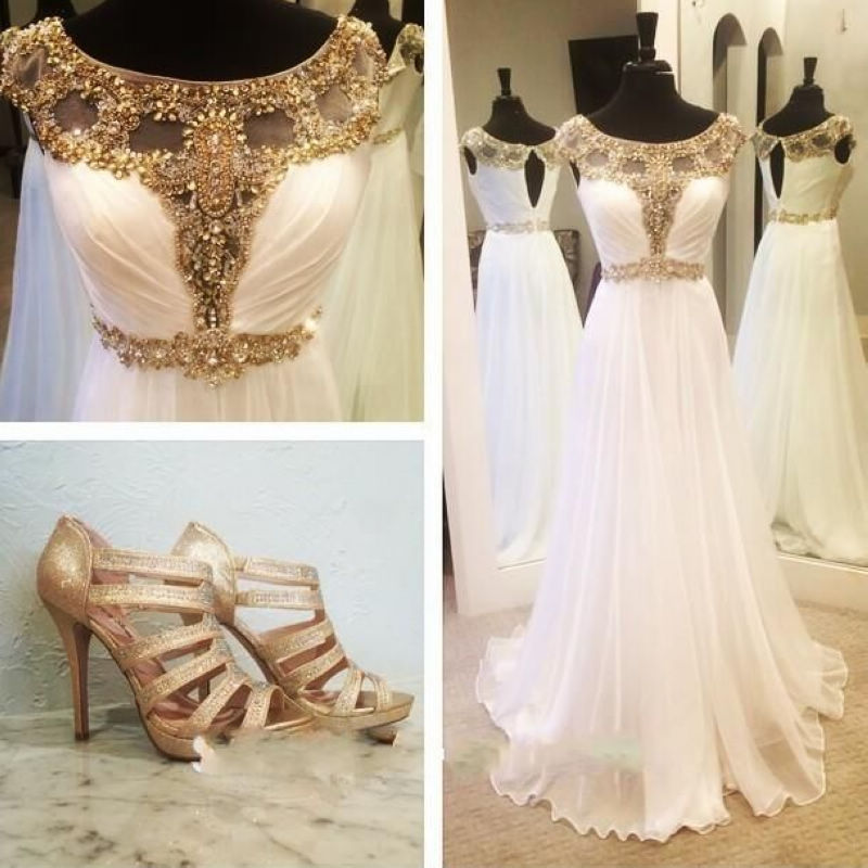 a0ba5560242 Aliexpress.com   Buy Prom Dresses 2016 Long Dress For Graduation Scalloped  Neck Cap Sleeves Illusion Beaded Chiffon White Gold Prom Dress from  Reliable ...