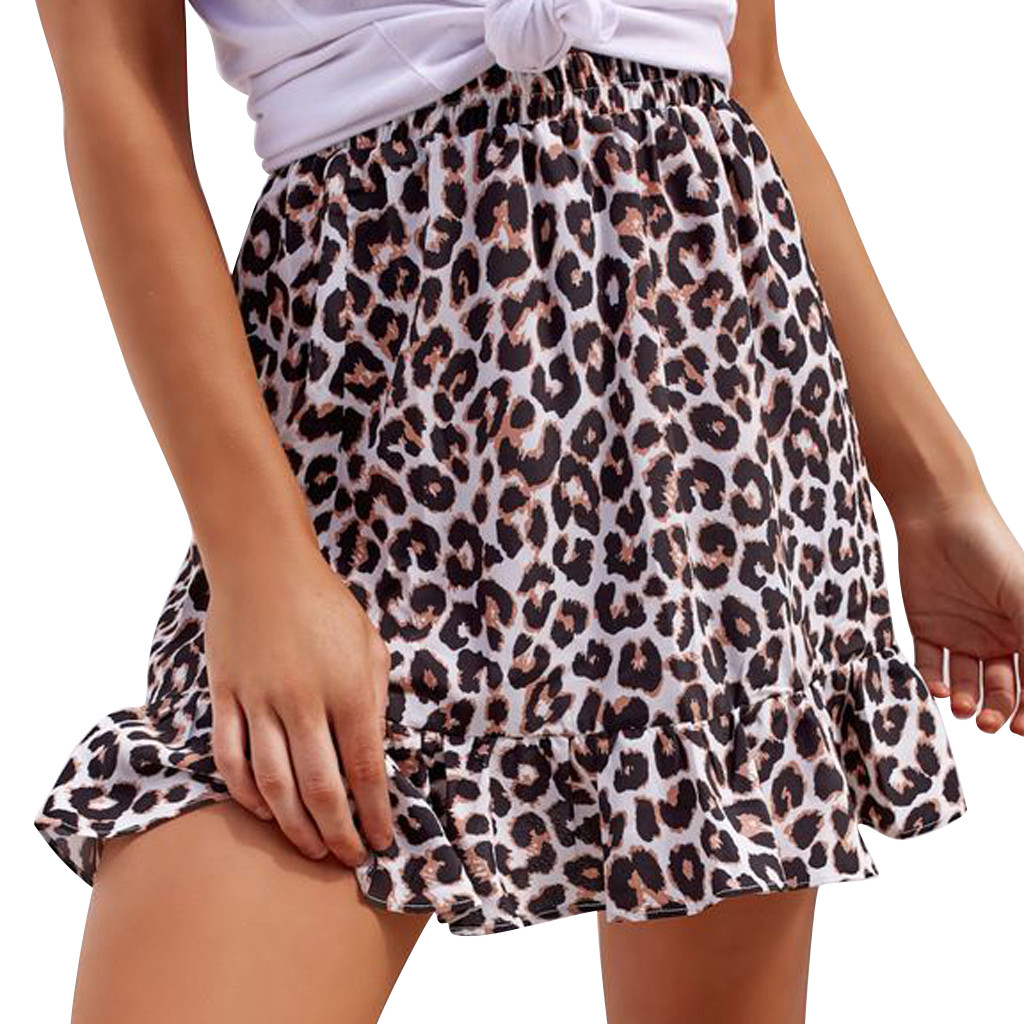 Leopard Long Skirt Women High Waist Mini Skirt Female Office Ruffle Animal Print Skirts Womens Summer 2019 Casual #B