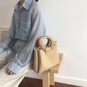 Image 4 - Casual Wooden Top handle Handbags Womens Shoulder Bags Pu Leather Ladies Hand Bags Famous Brands Women Handbags 2020 Hots Bolsa