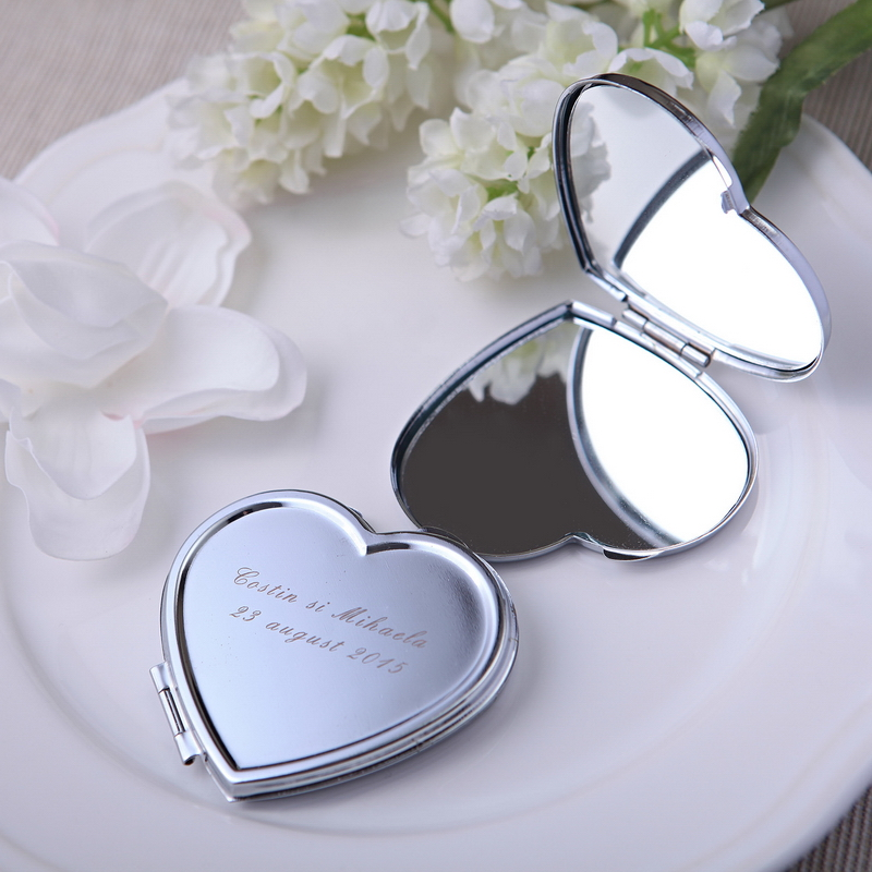 Free Shipping 100pcs Lot Personalized Wedding Favors Heart Design Compact Mirrors Customized Logo Beauty Mirror Bridal Shower In Party From Home