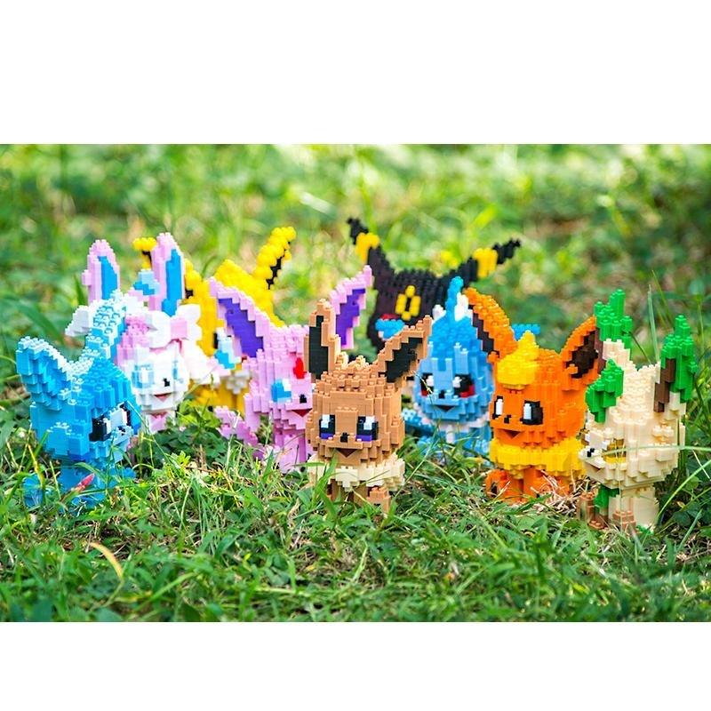 Bonito blocos de diamante anime modelo pequenos tijolos eevee brinquedo conjunto brinquedos figuras ação crianças presentes para crianças