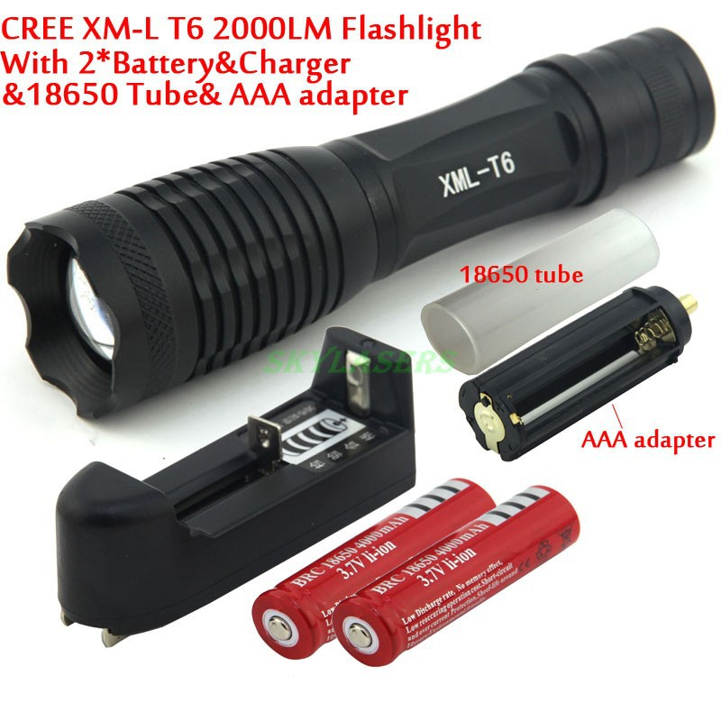 2000 Lumens 7 Mode E007 Zoomable CREE XM-L T6 LED 18650 AAA Flashlight Torch Zoom Lamp Light+2*18650 Battery + Chrger 2622b led flashlight 18650 zoom torch waterproof flashlights xm l t6 3800lm 5 mode led zoomable light for 3x aaa or 3 7v battery