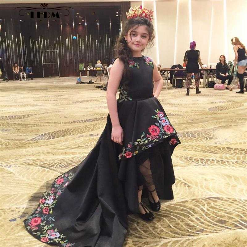 Flower girl dress 2019 new satin embroidery black high / low children  beauty pageant dresses plus size mother daughter gowns