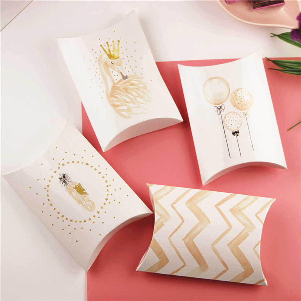 2/5 sztuk cukierki pudełko na prezent ślubny urodziny Party gości opakowania pudełka na prezent torby papierowe poduszka kształt pudełko Flamingo Decor obecne etui