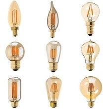 Светодиодный затемнения Винтаж Эдисон лампы золотистым отливом лампы накаливания C35T C32T A19 ST45 ST64 G40 G80 G125 Ретро светодиодный светильник 220V E27 светильник