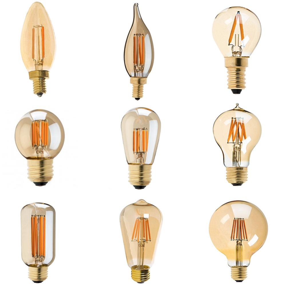 LED Dimmable Vintage Edison Bulb Golden Tint Filament Bulbs C35T C32T A19 ST45 ST64 G40 G80 G125 Retro LED Lamp 220V E27 Light