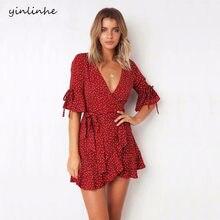 26cc9b3bd3bb Yinlinhe Rosso del Puntino di Polka del Vestito Da Estate Manica Corta con  scollo a V Sexy Wrap Dress Vita Sottile Elegante Boho.