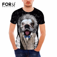 FORUDESIGNS Cute Dog 3D T Shirt Men Funny Print T Shirt For Male Youth Teenager Short