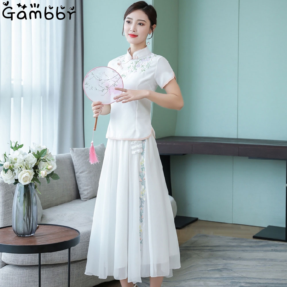Elegant Chinese Dress Qipao Party Dress White High quality Sweet Vintage Girl Cheongsam Dress Two Piece Qi Pao Outfit Improve
