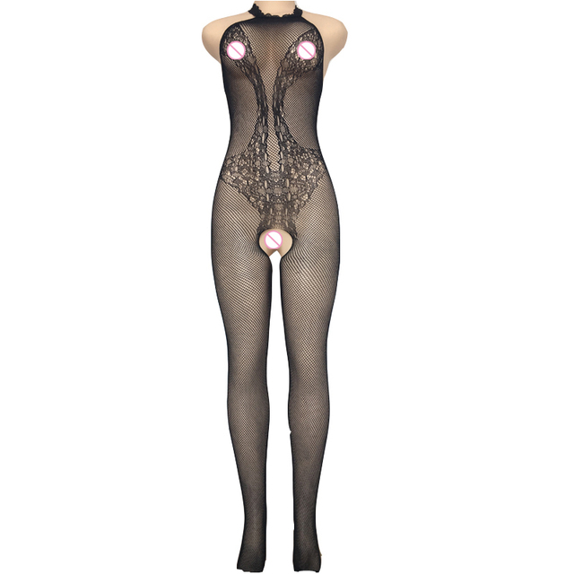 Black Grid Jacquard Garter Seamless Body Stockings 8