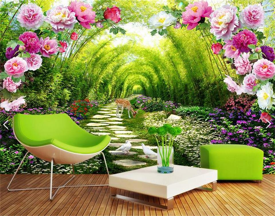 3d personnalis photo mural 3d papier peint jardin ombre fleur porte d cor peinture 3d peintures. Black Bedroom Furniture Sets. Home Design Ideas