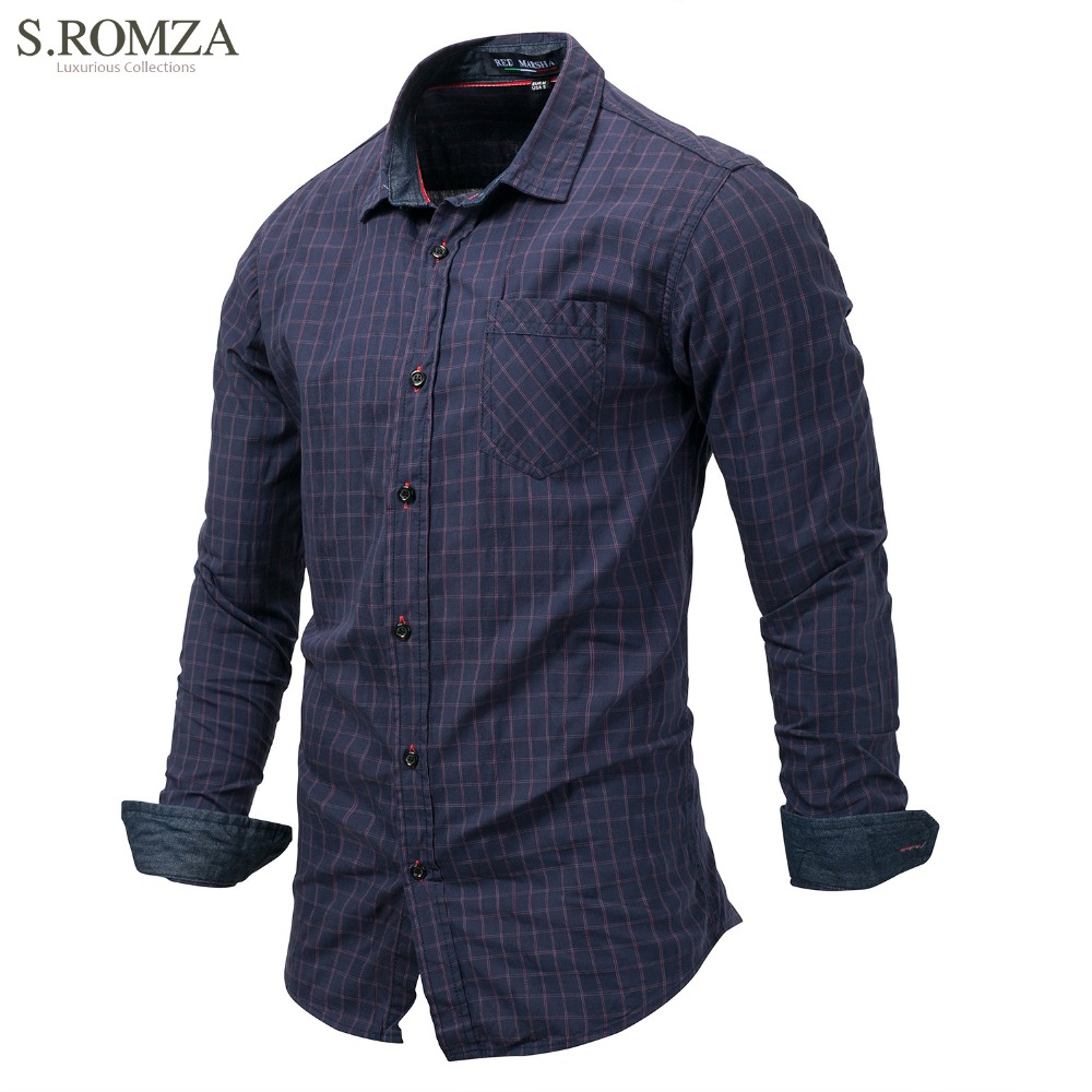 S.ROMZA Spring Men Shirt Long-Sleeved Demin Plaid Elegant Shirts Business Tops Casual Button Cardigan Outerwear EUR M-3XL