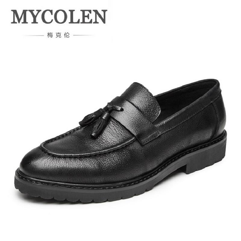 MYCOLEN Autumn Men Loafers Shoes High Quality Cow Leather Loafers Fashion Romantic Black Casual Driving Shoes Men ayakkabi zplover fashion men shoes casual spring autumn men driving shoes loafers leather boat shoes men breathable casual flats loafers