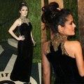 Salma Hayek Oscar bainha Halter strass lantejoulas enfeites de veludo celebridade vestido de noite vestido frete grátis