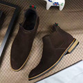 2016 Hot Autumn Winter Shoes Men Leather Ankle Solid Chelsea Boots Tide Luxury Designer Menswear Flat Booties Round Toe Slip On