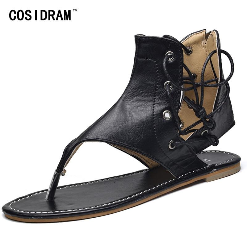 Cosidram 2018 модная летняя обувь пикантные Кружево до Дамская пляжная обувь без каблука Каблучки женские босоножки Большой размер 41 42, 43 sne-004