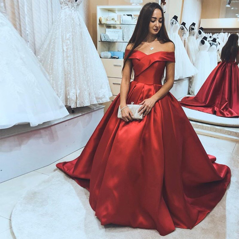 Gorgeous Off The Shoulder   Prom     Dresses   Burgundy Satin Puffy Ball Gown Evening Party   Dresses   Sweep Train Formal   Prom   Gowns