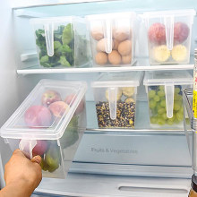 Plastic Kitchen Refrigerator Storage Box Food Container Transparent Keeping Egg Fish Fruit Fresh Fridge Storage Organizer(China)