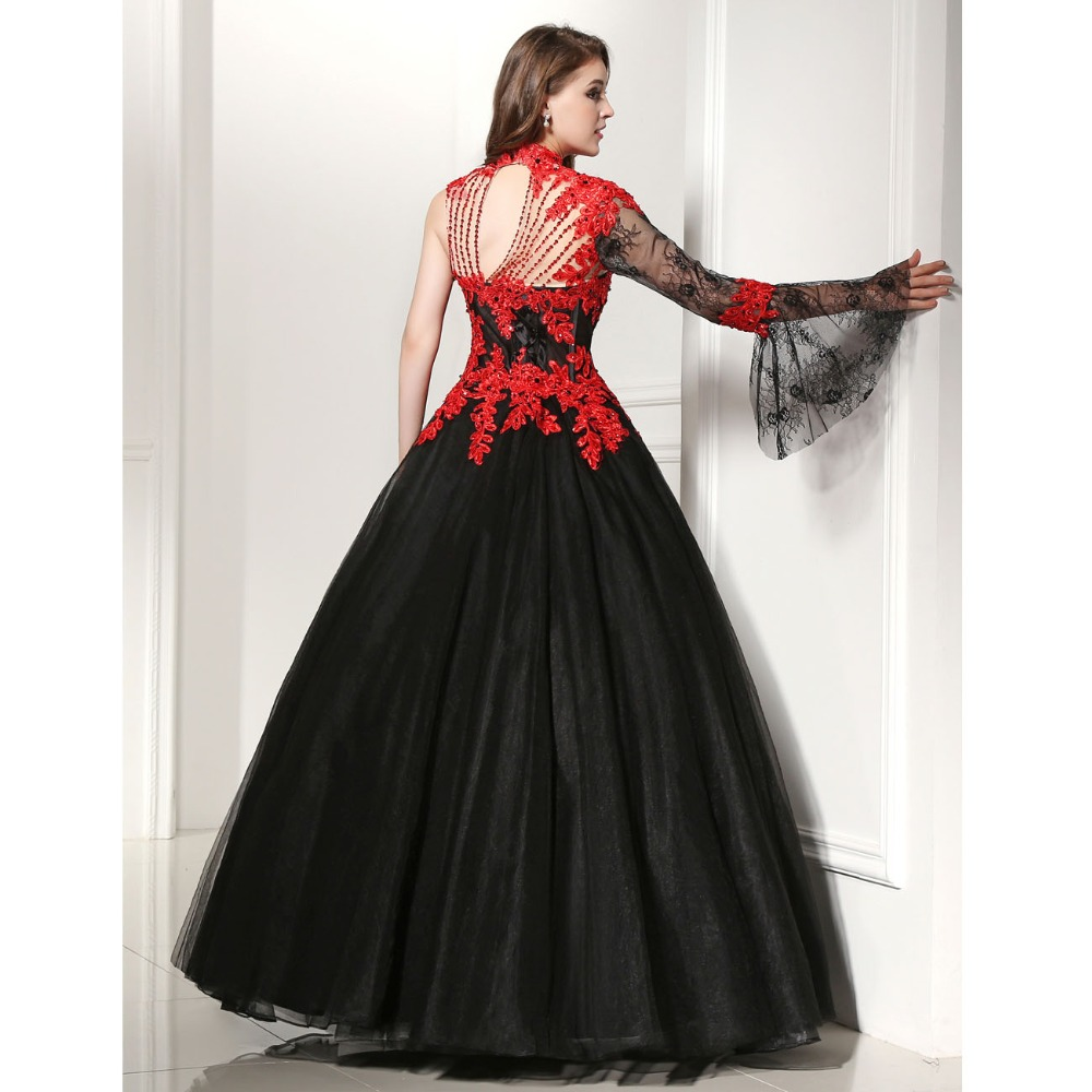Black and red lace wedding dresses for Red and black wedding dresses