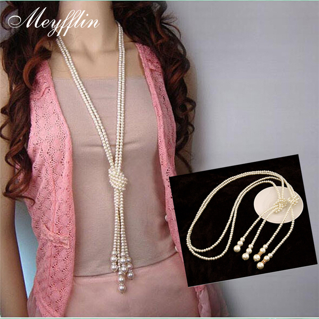 Collier Fashion Simulated Pearl Long Necklace for Women Vintage Choker Statement