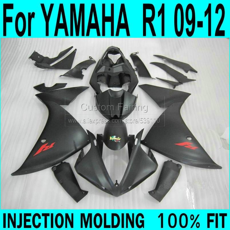For YAMAHA  R1 2009 - 2012 Fairings ( MATTE black ) 09 Injection Fairing kit ll45 отсутствует герменея 1 1 2009