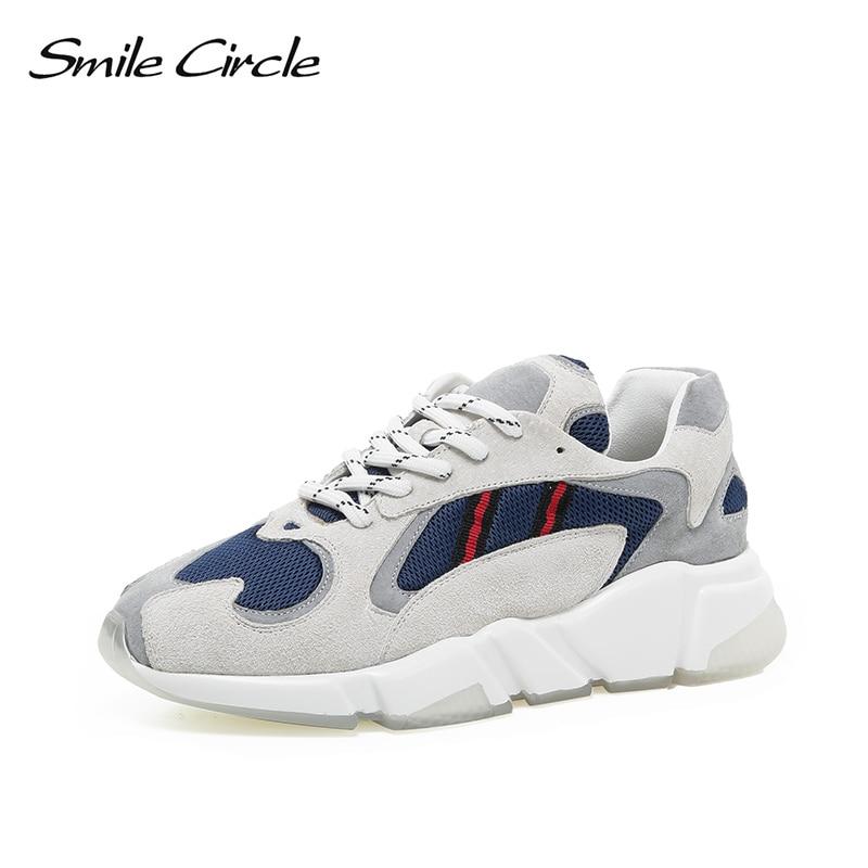 up Dentelle Printemps Bleu Casual Chaussures Mélangées Couleurs Pour Cercle Plate rouge Maille Sourire 2019 forme Chunky Sneakers Respirante Femmes blanc Bngx7O