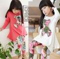 Ху солнце Розничные весна осень новый 2015 девочки несут с длинными рукавами футболки + цветок леггинсы комплект одежды хлопка детей одежда наборы
