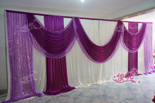 wholesale and retail 3x6m white and burgundy wedding backdrop curtain with swag wedding drapes , wedding stage backdrop