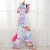 Детские пижамы для мальчиков и девочек, пижамы с кигуруми Единорог, пижамы с героями мультфильмов, licorne, коралловый флис, теплая Пижама de ...