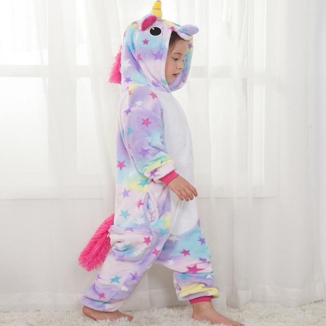 Children Pajamas for Boys Girls Kigurumi Unicorn Pajama Cartoon Sleepwear licorne Coral Fleece Warm pijama de unicornio Inverno