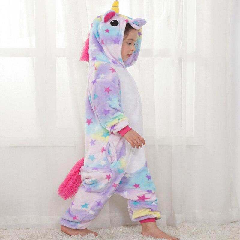 Crianças Pijamas para Meninos Meninas licorne Unicórnio Kigurumi Pijama Caricatura Sleepwear Inverno Velo Coral Quente pijama de unicornio