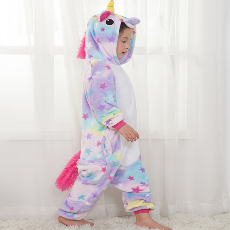 Pyjamas enfants pour garçons filles Kigurumi licorne pyjama vêtements de nuit de dessin animé licorne corail polaire chaud pijama de unicornio Inverno