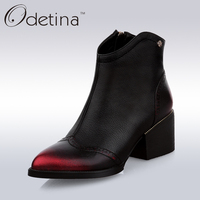 Odetina 2016 Handmand Large Size Women Genuine Leather Ankle Boots Black Med Chunky Heel Booties With
