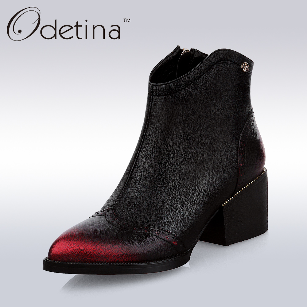 Odetina 2017 Handmade Large Size Women Genuine Leather Ankle Boots Black Med Chunky Heel Booties With
