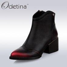 Odetina 2017 Handgemachte Große Größe Frauen Echtes Leder Stiefeletten Schwarz Med Blockabsatz Booties Mit Seitlichem Reißverschluss Spitz