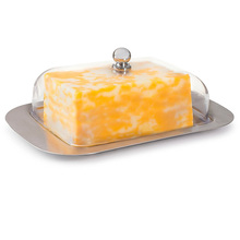Storage Trays Tools Stainless Steel Butter Cheese Dish Box Container Rectangle Keeper Tray Bread Plate With Lid Kitchen Accessor