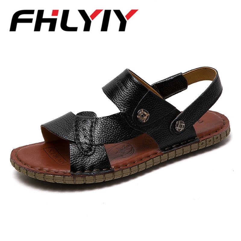 Mens Sandals Genuine Leather Sandals Outdoor Casual Men Leather Sandals For Men Flip Flops Beach Shoes Zapatos Hombre