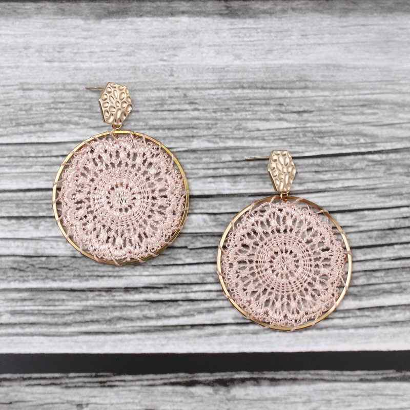 ZWPON Hammered Hexagon Tatting Round Earrings 2019 New Product Geometric Simple Statement Earrings Wholesale