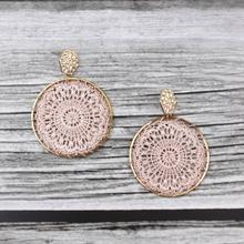 ZWPON Hammered Hexagon Tatting Round Earrings 2019 New Product Geometric Simple Statement Wholesale