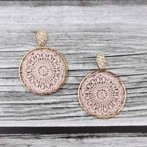 ZWPON Earrings Hammered Geometric Tatting New-Product Hexagon Simple Round Wholesale