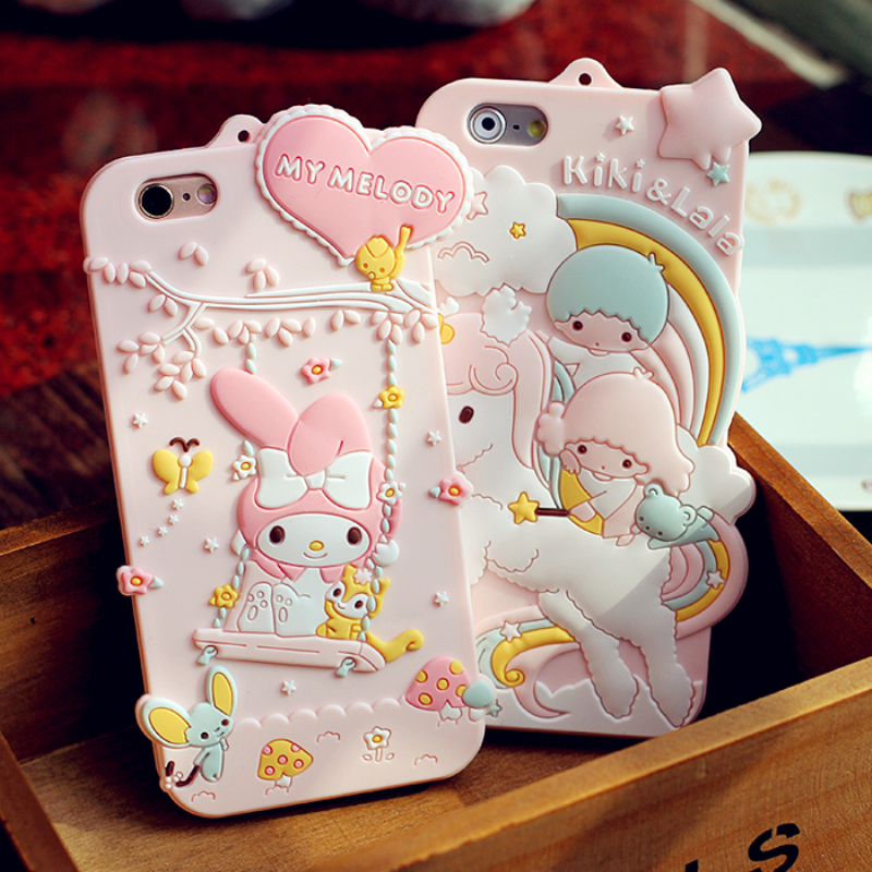 Cute 3D Cartoon My Melody Twin Stars Judy Phone Case for iPhone 5 5s SE 6 6s 7 7 Plus 8 8 Plus Soft Silicone Cover Fundas Coque