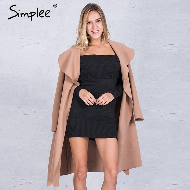 Simplee черный рябить теплое зимнее пальто Женщины отложным длинное пальто воротник пальто Женская Повседневная Осень 2016 розовая верхняя одежда