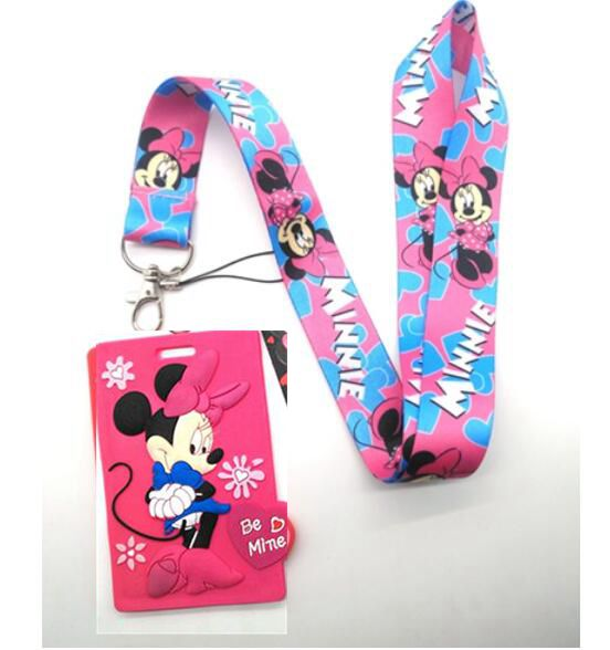 New Retail  1pcs  Cartoon  Minnie  Lanyard Key Chains Card Holders Bank Card Neck Strap Card Bus ID Holders M10