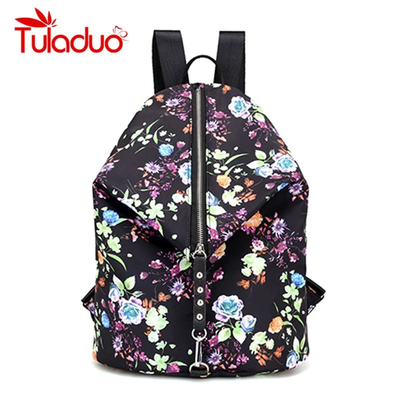 Brand Nylon Backpack Female Flower Print Women Knapsack Ladies Backpack Girl Student Waterproof School Bag For Laptop Mochilas