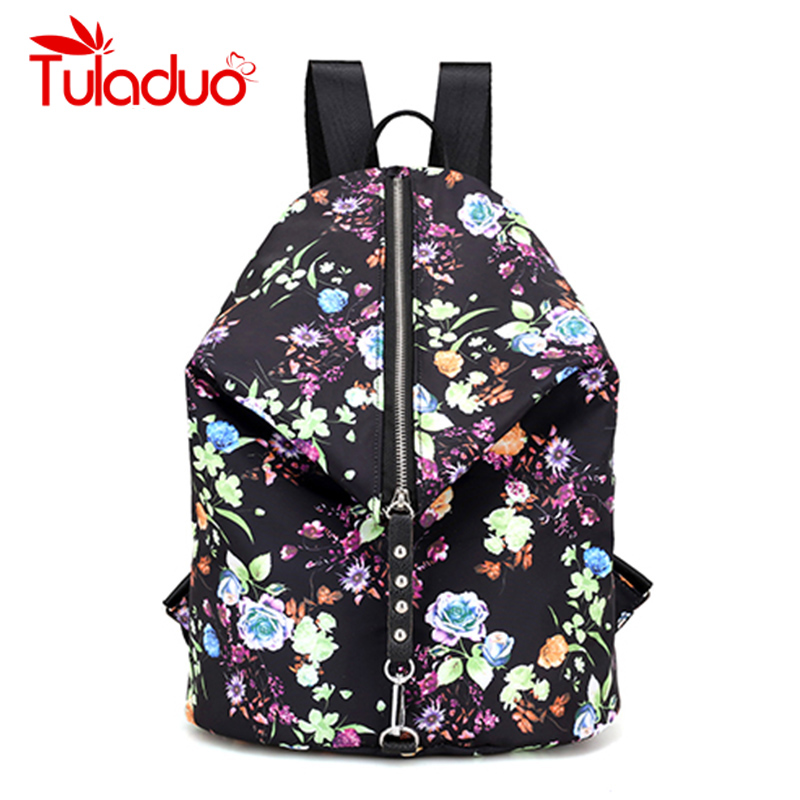 все цены на Brand Nylon Backpack Female Flower Print Women Knapsack Ladies Backpack Girl Student Waterproof School Bag For Laptop Mochilas онлайн